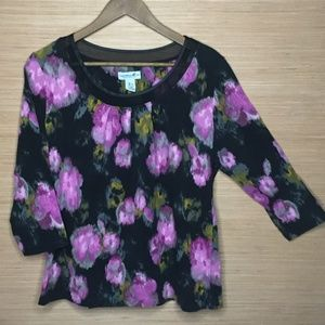 Caribnean Joe Sheer Neckline Black & Purple Top L